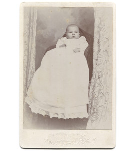 Antique Victorian Cabinet Card Photograph Baby in Christening Dress - Jamestown, NY