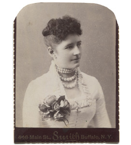 Antique Victorian Cabinet Card Photograph Short Haired Woman w/ Large Pearl Necklace - Buffalo, NY
