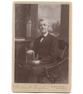 Antique Victorian Cabinet Card Photograph Man in Suit Bow Tie Holding Book - Jamestown, NY
