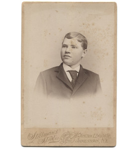 Antique Victorian Cabinet Card Photograph Young Man in Suit - Jamestown, NY