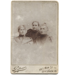 Antique Victorian Cabinet Card Photograph 3 Women Together - Lock Haven, PA