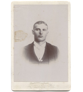 Antique Victorian Cabinet Card Photograph of Young Man in Suit - Jamestown, NY