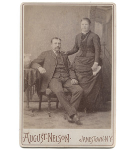 Antique Victorian Cabinet Card Photograph Jamestown, NY Couple in Studio