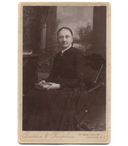 Antique Victorian Cabinet Card Photograph Seated Woman Holding Book - Jamestown, NY