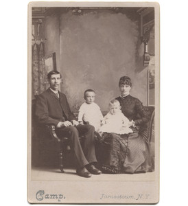 Antique Victorian Cabinet Card Photograph Couple with 2 Toddler Children - Jamestown, NY