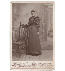 Antique Victorian Cabinet Card Photograph Standing Woman Fancy Dress - Jamestown, NY