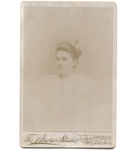 Antique Victorian Cabinet Card Photograph Woman w/ Feather Shaped Hairpin - Philadelphia
