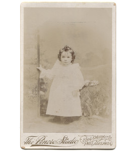 Antique Victorian Cabinet Card Photograph Toddler in Faux Outdoor Portrait - Philadelphia