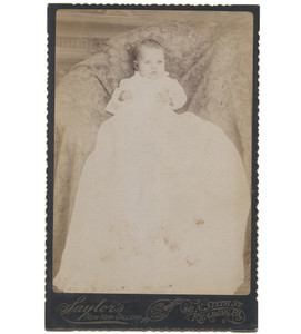 Antique Victorian Cabinet Card Photograph Baby in Christening Dress - Reading, PA