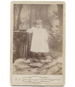 Antique Victorian Cabinet Card Photograph Angelic Toddler in Faux Outdoor Scene - Philadelphia
