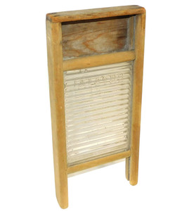 Antique Primitive Weathered Wood  & Glass Crystal Miniature Lingerie Washboard
