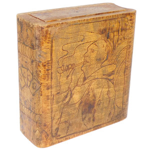 Antique Handmade Wooden Pyrography Playing Card Box w/ Pipe Smoker Graphics