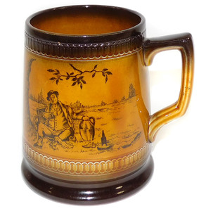 Vintage T.G. Green & Co. Large Mug with Fat Man Picnic Scene Graphics
