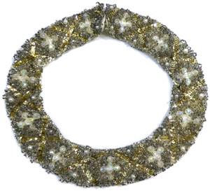 Vintage Cloth Choker Necklace Beaded w/ Gold Sequins & Aurora Borealis Beads