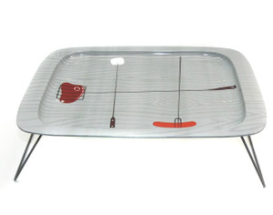 Cool Retro Vintage Mid-Century Folding Tin TV Tray Picnic Cookout Food Graphics