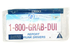 NOS Unused Ohio State Trooper 1-800-GRAB-DUI Police License Plate Still Sealed
