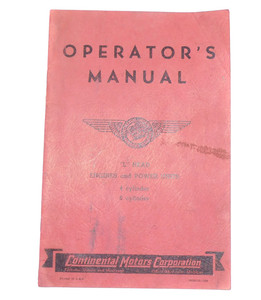 Old Continental Motors Operator's Manual Book L Head Engines & Power Units