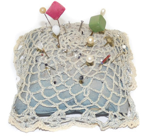 Antique Homemade Pincushion w/ Lace Doily Cover and Pins in Cushion