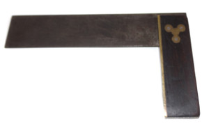 """Antique Rosewood & Brass Handled Unsigned Try Square Tool - 8 3/8"""" Size"""