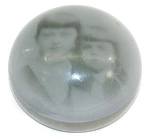 Antique Probable Albert Graeser Art Glass Paperweight w/ Photo of 2 Young Girls
