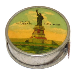 Antique Statue of Liberty Souvenir Sewing Tape Measure Tool Made in Germany