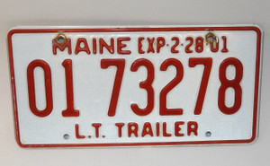 2001 Vintage Maine State L.T. Trailer License Plate - Tag #0173278