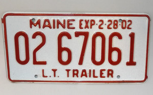 2002 Vintage Maine State L.T. Trailer License Plate - Tag #0267061
