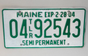 2004 Maine State Semi Permanent Trailer License Plate - Tag #0492543