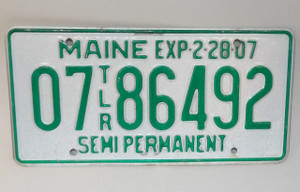 2007 Maine State Semi Permanent Trailer License Plate - Tag #00786492