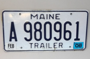 2008 Maine State Trailer License Plate - Tag #A980961