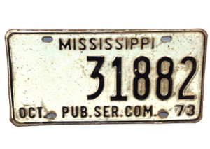 1973 Mississippi Public Service Commission License Plate - Tag #31882
