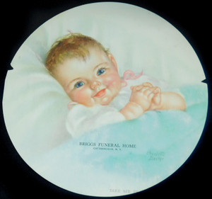 Vintage Paper Advertising Fan Baby Print Briggs Funeral Home Cattaraugus, NY