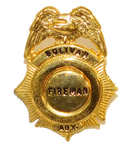 Vintage Obsolete Bolivar, NY Fire Department Company Auxiliary Hat Badge