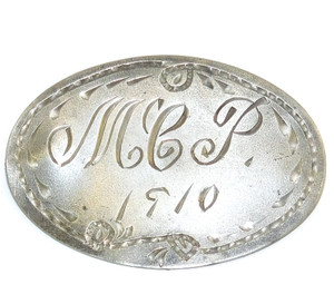 """Antique Hand Carved Engraved Personalized """"M.C.P."""" 1910 Pewter Brooch Pin"""