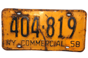 1958 Vintage New York State Commercial License Plate  - Tag #404-819