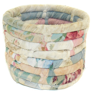 """Vintage Handmade Rag Rug Style Twisted Spiral Garbage Can Storage Container 6"""""""