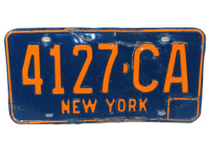 1966-72 Vintage New York State License Plate - Tag #4127-CA