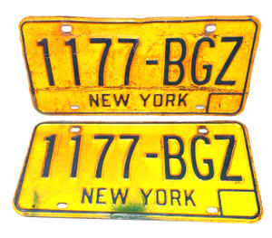 1973-80 Matching Pair New York State License Plates - Tag #1177-BGZ