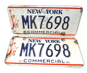 1986-00 Matching Pair Set New York State Commercial License Plates - Tag #MK7698