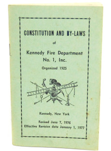 Vintage 1977 Constitution & By-Laws Book Kennedy Fire Department - Kennedy, NY