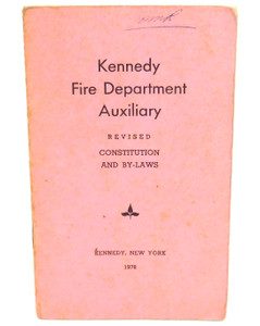 Vintage 1978 Constitution & By-Laws Book Kennedy Fire Department - Kennedy, NY