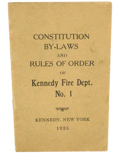 Vintage 1925 Constitution & By-Laws Book Kennedy Fire Department - Kennedy, NY