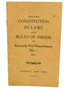 Vintage 1931 Constitution & By-Laws Book Kennedy Fire Department - Kennedy, NY