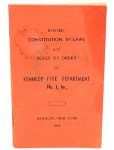 Vintage 1941 Constitution & By-Laws Book Kennedy Fire Department - Kennedy, NY