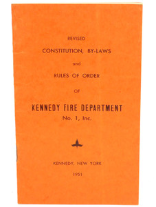 Vintage 1951 Constitution & By-Laws Book Kennedy Fire Department - Kennedy, NY