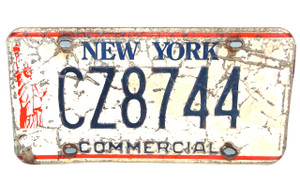 Matching Pair 1986-00 New York Commercial License Plate - Tag #CZ8744