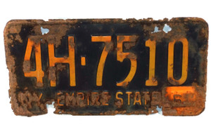 Roached 1960 New York Empire State License Plate - Tag #4H-7510 w/ 1961 Corner Tab