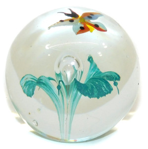 Vintage Clear Ball Shaped Art Glass Paperweight Teal Flower Colorful Butterfly