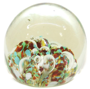 Vintage Clear Ball Shaped Art Glass Paperweight w/ Multi-Color Blob at Bottom