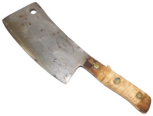 """Antique Simco Large Heavy Wood Handled Meat Cleaver Butcher Knife 9"""" Blade"""